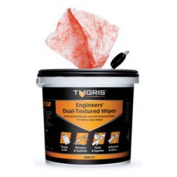 Tygris Engineers Dual Textured Hand Wipes 110 wipes impregnated rough and soft cleaning wipes